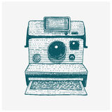 Instant Photo camera vintage, engraved hand drawn in sketch or wood cut style, old looking retro lens, isolated vector Stock Photography