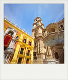 Instant photo of Cathedral Square in Malaga Royalty Free Stock Photos