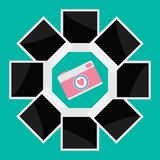 Instant photo circle with camera camera in flat Stock Photography