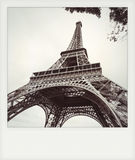 Instant photo of  The eiffel tower in black and white Stock Images