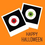 Instant photo with eyeball bloody streaks. Happy Halloween card. Flat design style. Royalty Free Stock Images