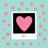 Instant photo in flat design style. Pink hearts. Love card. Blue background Royalty Free Stock Image