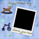 Instant Photo Frame in blue background,Happy Mother's Day Royalty Free Stock Image