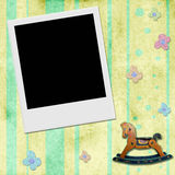 Instant photo frame in chid background Royalty Free Stock Images