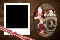 Instant photo frame Christmas card Royalty Free Stock Photo