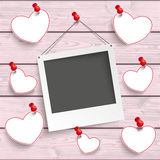 Instant Photo Frame Hanging Hearts Pink Wood Royalty Free Stock Image