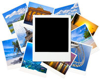 Instant photo frame over traveling pictures isolated Royalty Free Stock Photo