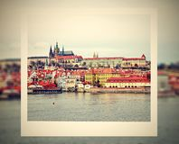 Photo frame with view on a Prague Castle Royalty Free Stock Photos