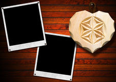 Instant Photo Frames on Brown Wooden Wall Stock Photography