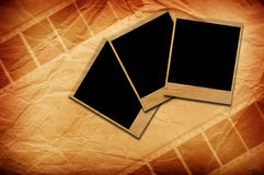 Instant photo frames and grunge negative film stock image