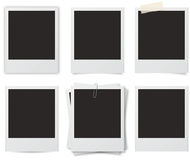 Instant Photo Frames. Six styles of instant (polaroid camera) photo frames with shadows Royalty Free Stock Photo