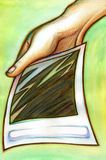 Instant photo in hand. A hand holding an instant photo. Background in watercolor in a tenuous pastel green tonality stock illustration
