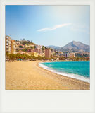 Instant photo of Malagueta Beach in Malaga Royalty Free Stock Images