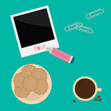 Instant photo, paperclips , pencil, biscuit cookie vector illustration