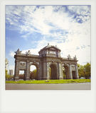 Instant photo of The Puerta de Alcala. In Madrid Stock Images