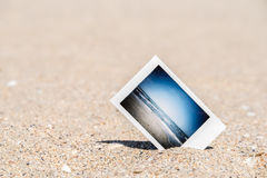 Instant Photo With Vacation Memories On Beach Stock Photos