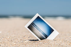 Instant Photo With Vacation Memories On Beach Stock Image