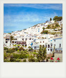 Instant photo of white town, Frigiliana Royalty Free Stock Photography