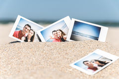 Instant Photo Of Young Boyfriend And Girlfriend Happy Couple Stock Images