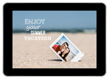 Instant Photo Of Young Couple On Beach Stock Images