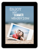 Instant Photo Of Young Couple On Beach Royalty Free Stock Photography