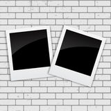 Instant Photos on Grunge Brick Background Vector Illustration.  Royalty Free Stock Images