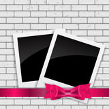 Instant Photos on Grunge Brick Background Vector Illustration Royalty Free Stock Photography