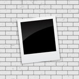 Instant Photos on Grunge Brick Background Vector Illustration Stock Images