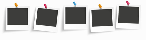 5 Instant Photos Header. 5 instant photos on the white background Stock Photography