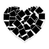 Instant photos in heart shape. Vector illustration.  Stock Image