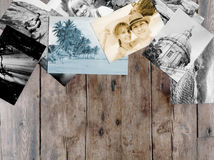 Instant photos memories. On wooden background with copy space stock photos
