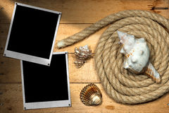 Instant Photos - Rope and Seashells Stock Photos