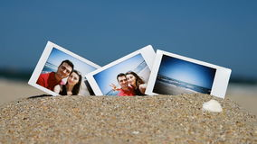 Instant Photos Of Young Happy Couple On The Beach stock footage