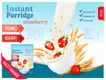 Instant porridge advert concept. Milk flowing into a bowl Royalty Free Stock Image