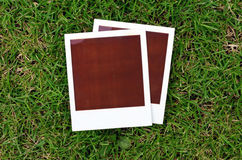Instant prints on green grass Stock Photo