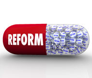 Instant Reform - Capsule Pill Promises Improvement and Fix. A red capsule pill with the word Reform filled with tiny balls each featuring the word reform Royalty Free Stock Images