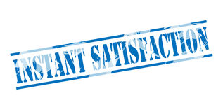 Instant satisfaction blue stamp Stock Images