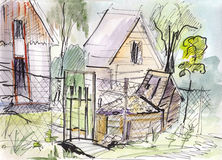 Instant sketch, fence and gate Stock Image