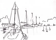Instant sketch, yachts. Instant sketch, landscape with yachts on river vector illustration