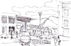 Instant sketch, Reykjavik. Instant sketch,  streets in Reykjavik Royalty Free Stock Photography