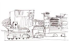 Instant sketch, Reykjavik. Instant sketch,  quay in Reykjavik Royalty Free Stock Image