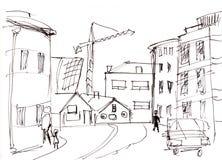 Instant sketch, Reykjavik. Instant sketch,  streets in Reykjavik Royalty Free Stock Photos