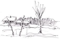 Instant sketch, rural landscape Stock Image
