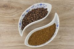 Instant soluble coffee and coffee beans Stock Photo