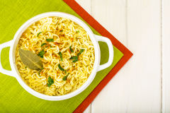 Instant soup with Chinese noodles Royalty Free Stock Images