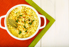 Instant soup with Chinese noodles Stock Image