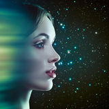 Instant Teleport. Fantastic female portrait with motion design and space backgrounds Royalty Free Stock Images