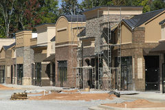 Instant Village. A suburban shopping center under construction, designed to model a small town street Royalty Free Stock Image
