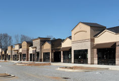 Instant Village. Part of my instant village series.  A suburban shopping center under construction, made to appear like a small town main street.  Strip shopping Royalty Free Stock Images