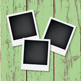 Instant vintage photos frames. On the old wooden background. Retro vector background Stock Photo